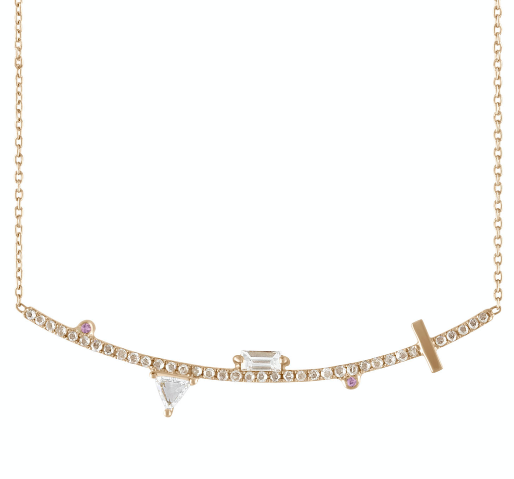 14K Yellow gold bar necklace Champagne diamond: .42CT  White diamond trillion: .30CT  White diamond baguette: .22CT  Made in Turkey