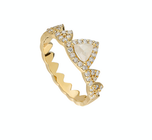 14K Yellow gold ring  Rose-cut diamond: .40CT  White diamond: .34CT  Size: 7  Made in Turkey