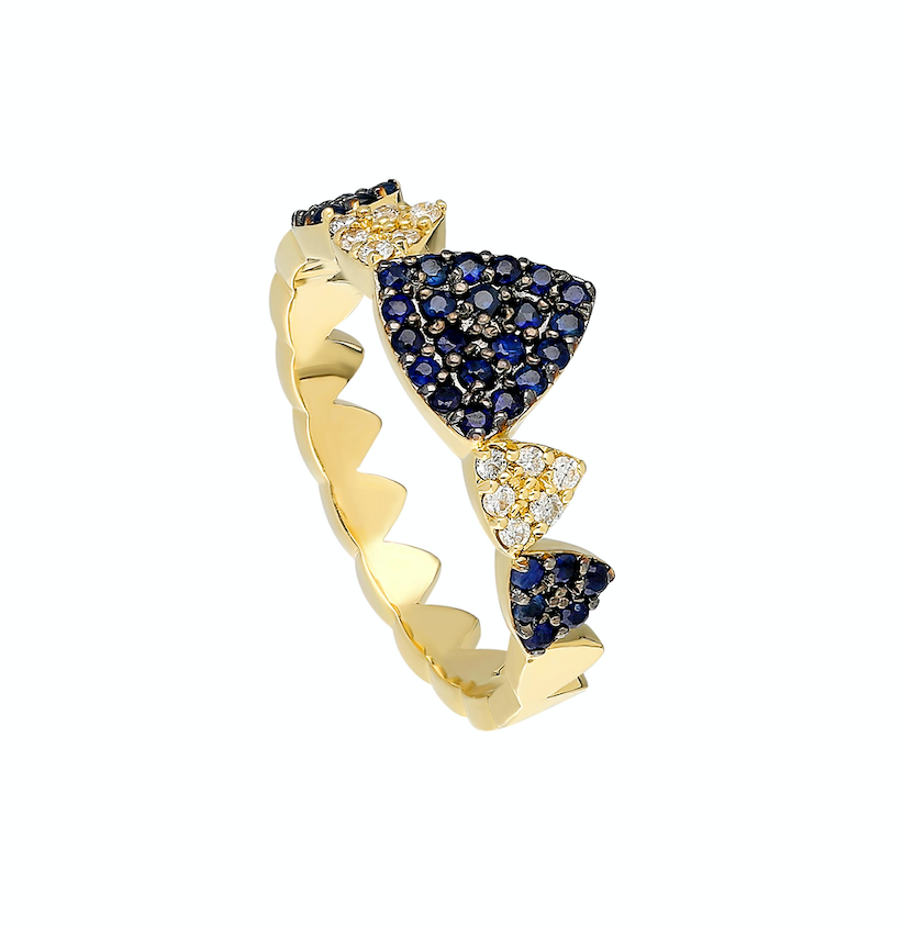14K Yellow gold ring White diamond: .12CT  Blue sapphire: .38CT  Size: 6.5  Made in Turkey
