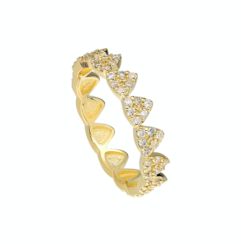 14K Yellow gold Ring Pave white diamond: .77CT  Size: 7  Made in Turkey