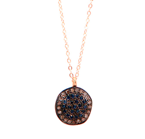 Saphire & Pave Diamond Disc Necklace