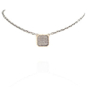 Pave White Diamond Square Pendant Necklace