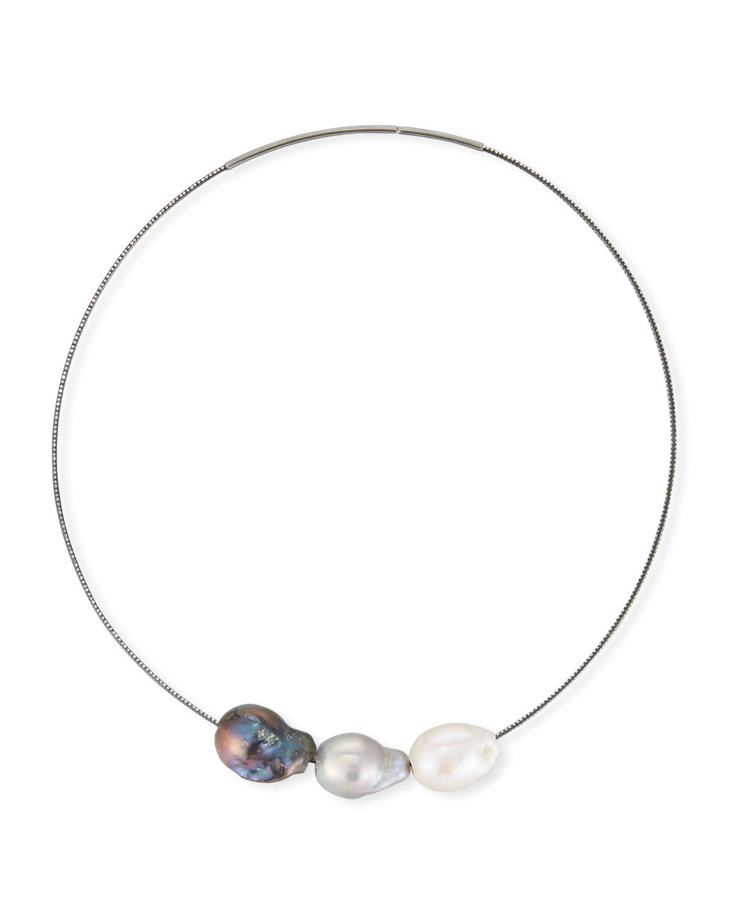 White, Grey and Peacock Baroque Pearl Necklace