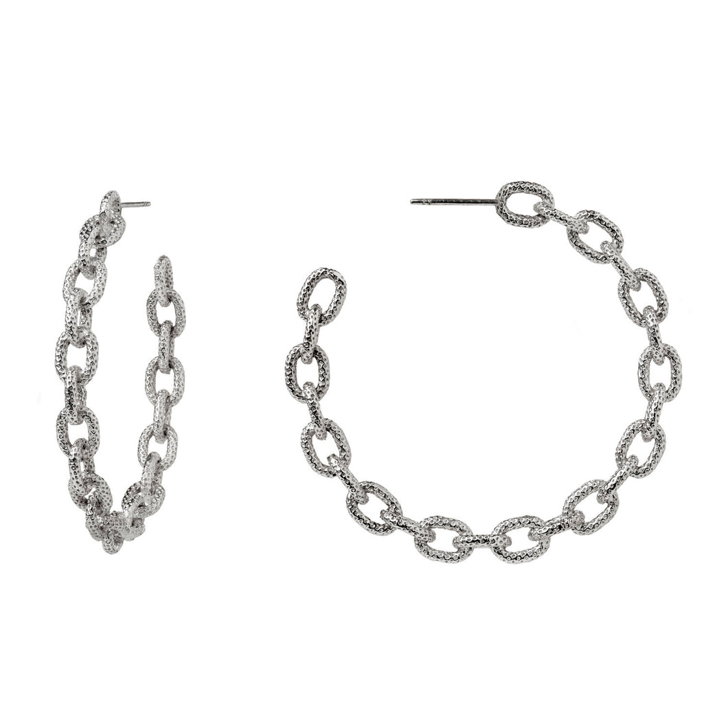 These sterling silver hoops are modeled after our exclusive Liza Beth textured chain.  Approximately 1-1/2 inches in diameter  Post enclosure is 14K white gold  Available with or without oxidation  Made in USA