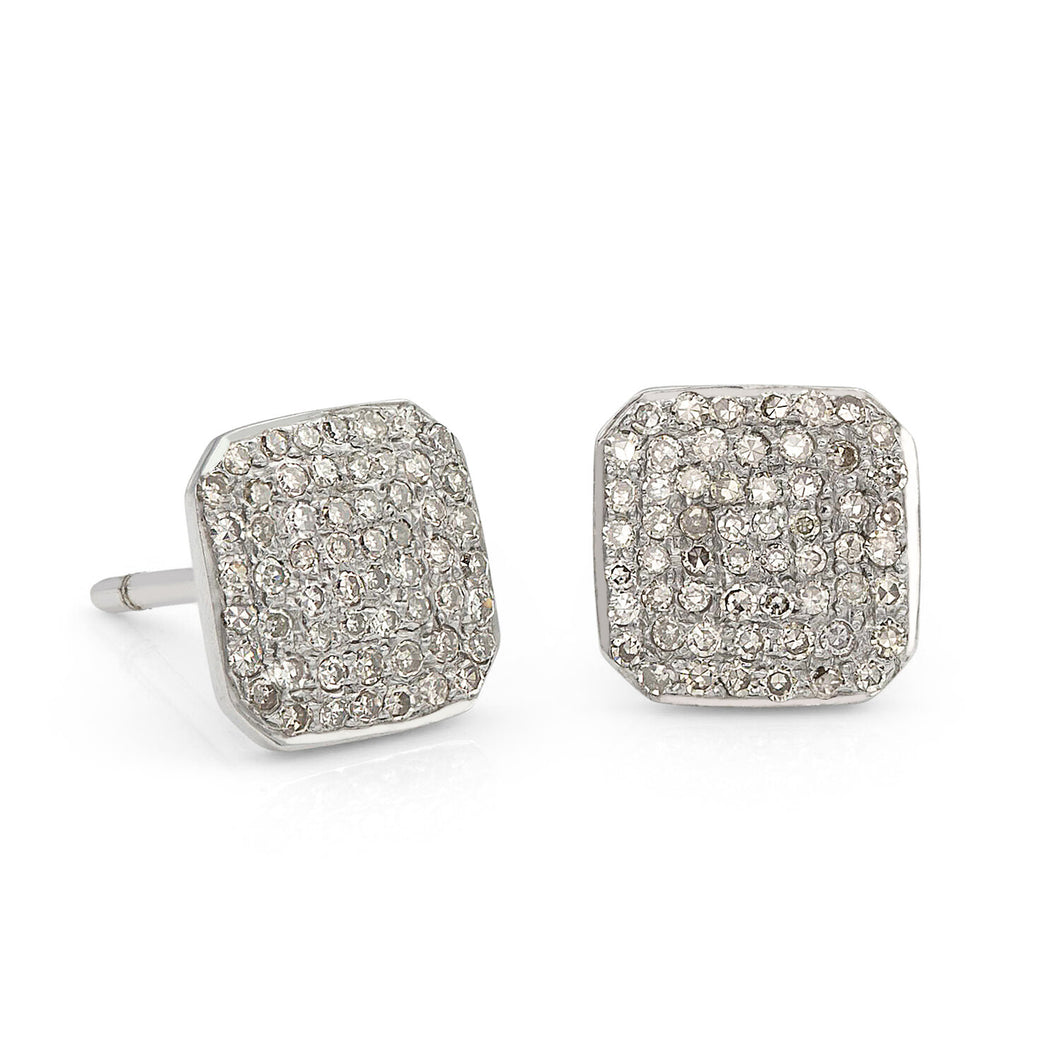 The Stella earring features a classic chamfered square shaped stud set with diamond pavé. Perfect for everyday wear or a special occasion.  Available in sterling silver, 14K yellow gold, 14K rose gold, or 14K white gold  Stud dimensions: 8 mm x 8 mm  Polished finish  Made in USA
