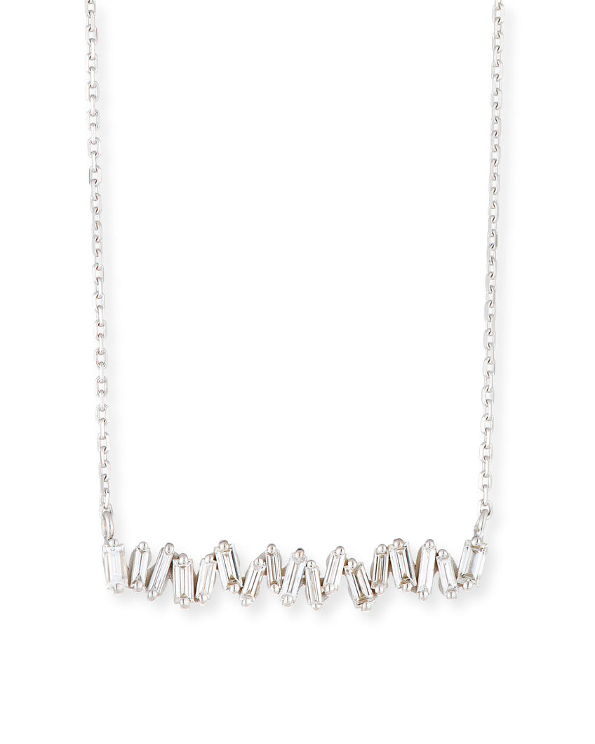 18K White Gold Bar Necklace