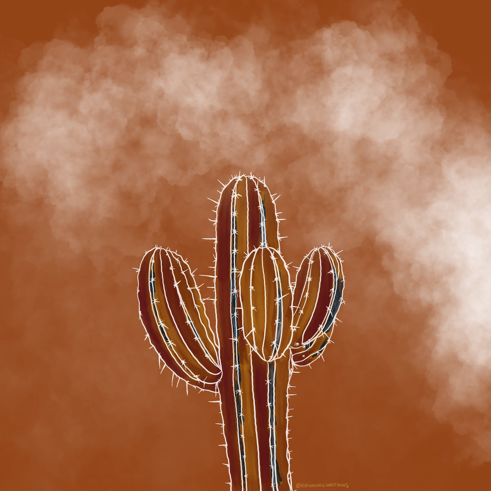 Saguaro Cactus Illustration Coloring Page
