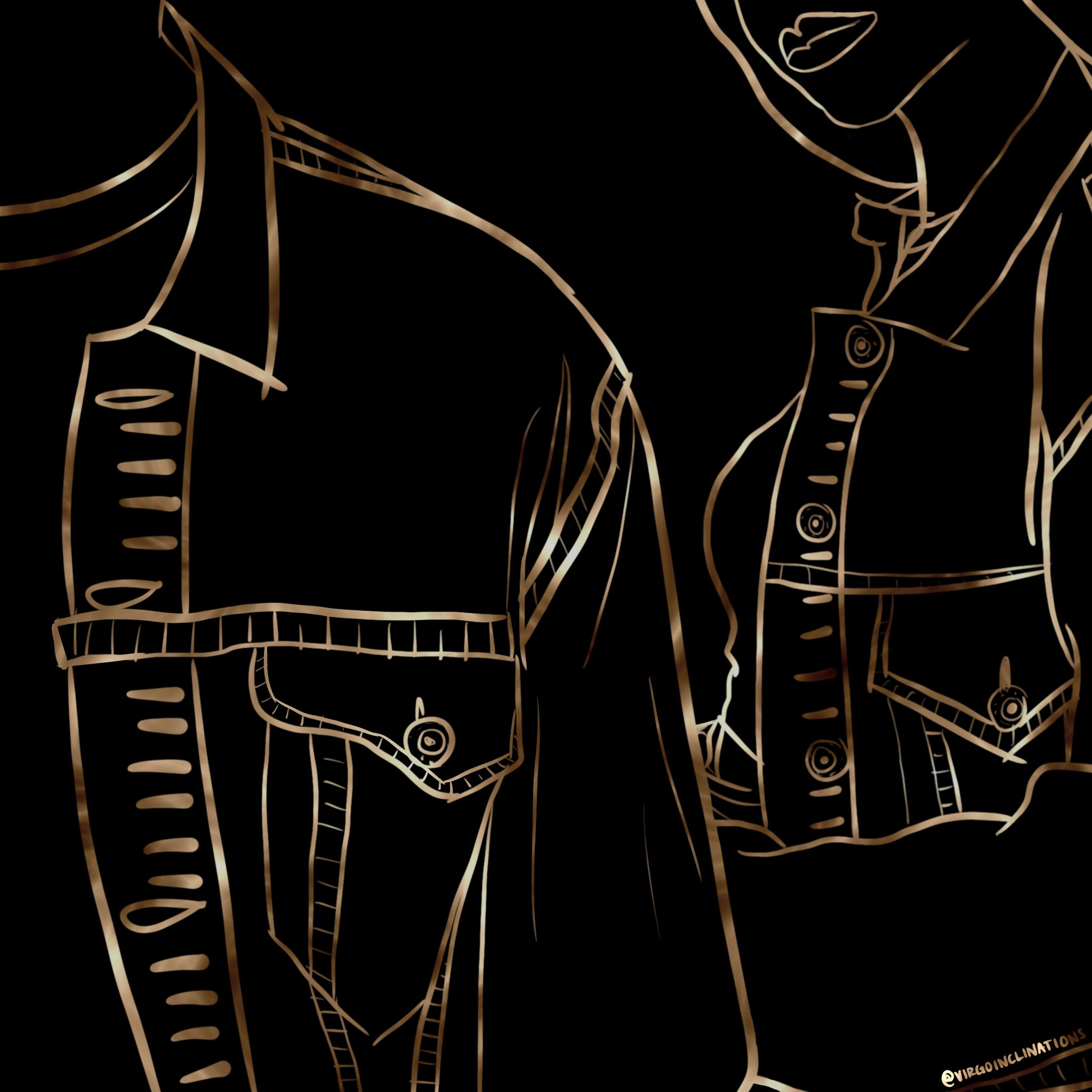 Gold lined illustration with black background