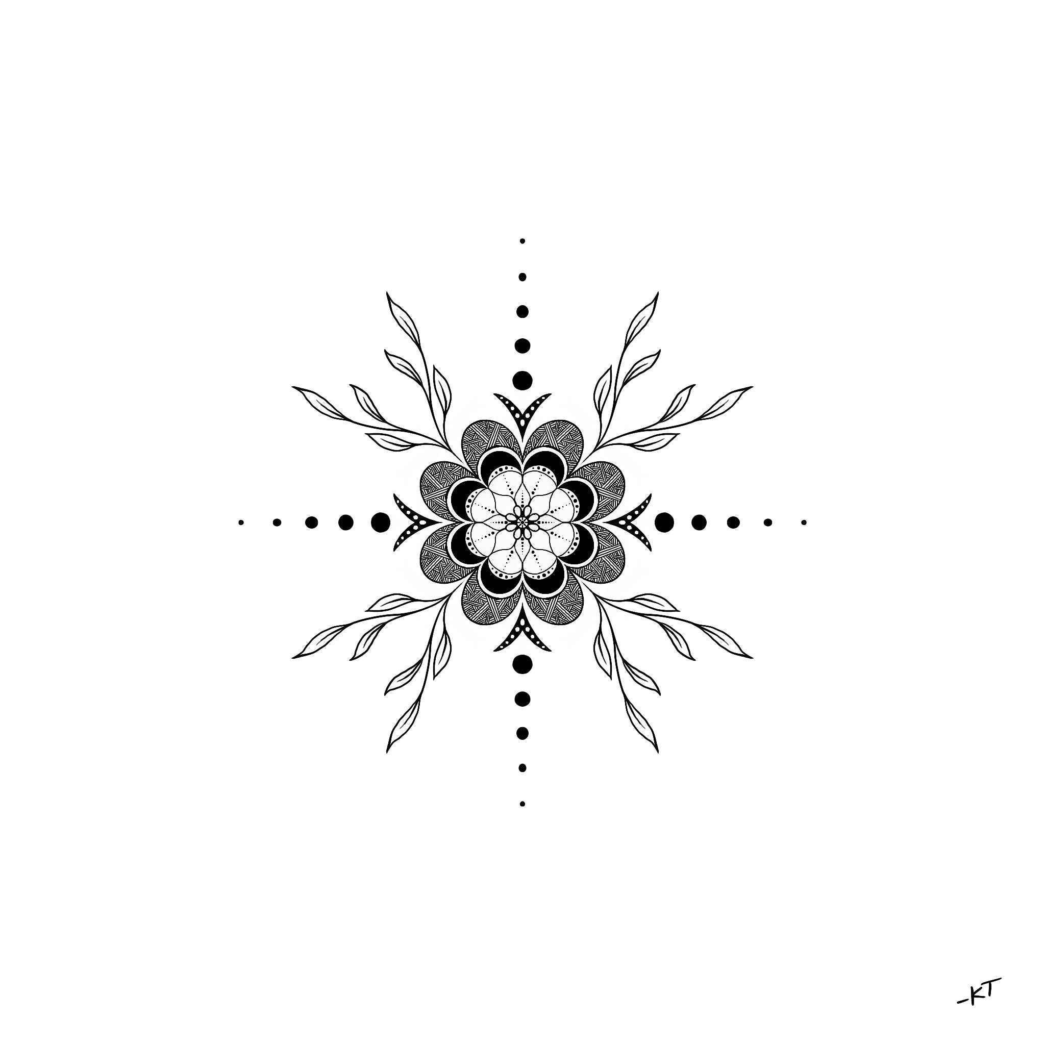 Simple Botanical Mandala Illustration (Colored) Grey Background