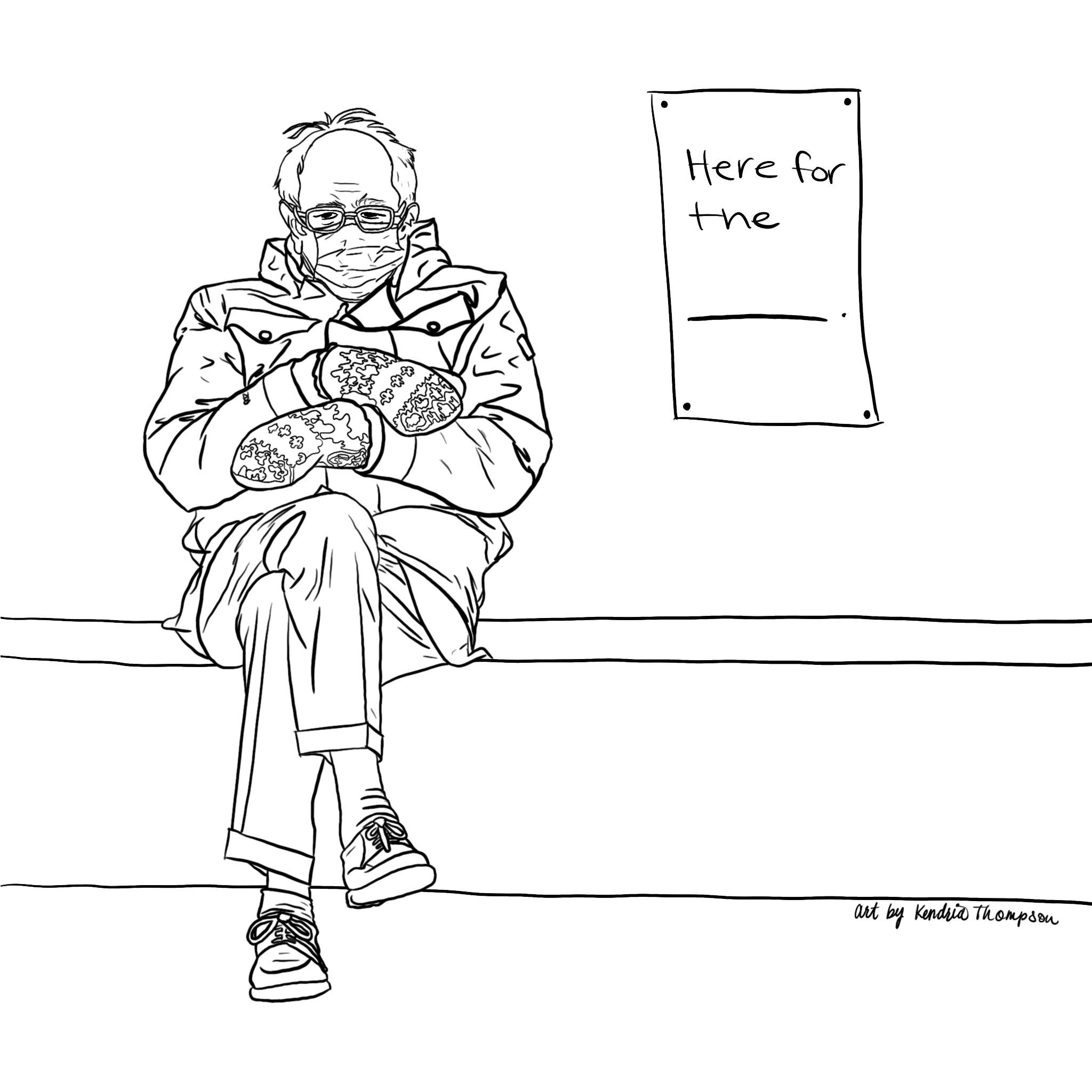 Bernie Sanders Illustration - Image of him sitting with mitten at the President's and Vice President's Inauguration