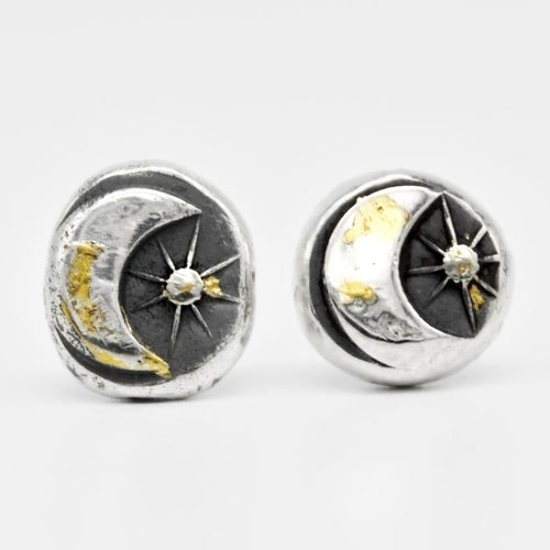 Dipped in Gold Moon Star Studs