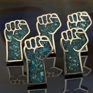 Solidarity Fist Turquoise Inlay Lapel Pin