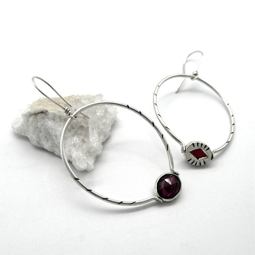 Reversible Garnet Diamond Hoop Earrings