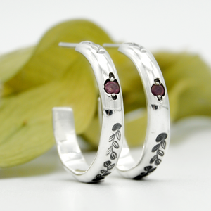 Tourmaline Fern Hoops