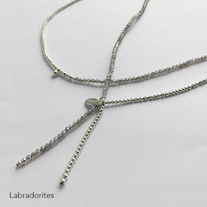 Collection Lily I Sautoir Lily pierres Labradorite - 90cm