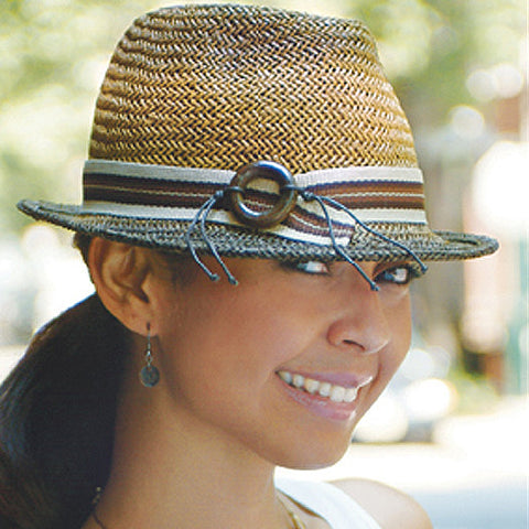 Ladies Brown Stripe Straw Fedora