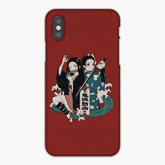 Anime Demon Slayer Red Background iPhone XS Max Case, Snap 3D Case