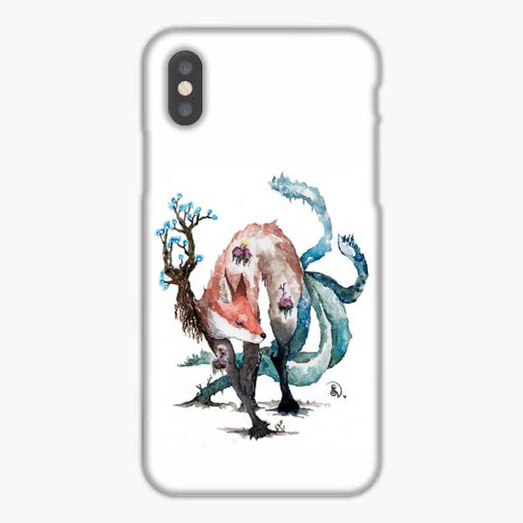 Fox And Wisps Kitsune Yokai Foxfire Watercolor iPhone XS Max Case, Snap 3D Case