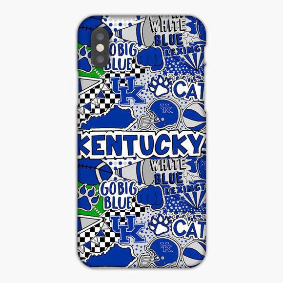 Kentucky Wildcats Sticker Bomb iPhone XS Case, Plastic Case, Snap Case & Rubber Case
