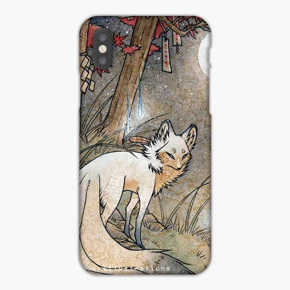 Kitsune Fox And Wisps Ilustration iPhone X Case, Snap 3D Case