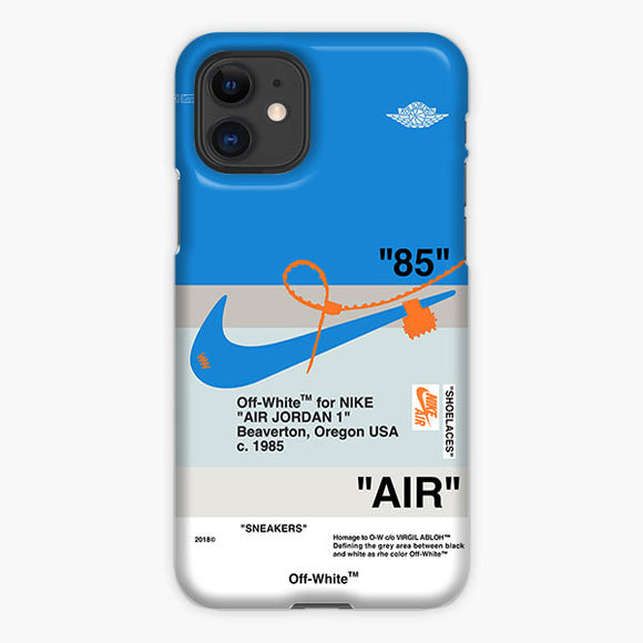 Off White Nike Air Jordan Blue iPhone 11 Case, Plastic Case, Snap Case & Rubber Case