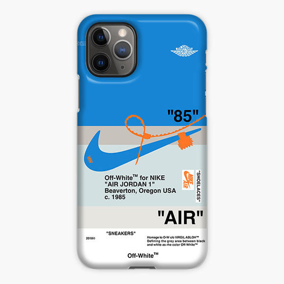 Off White Nike Air Jordan Blue iPhone 11 Pro Max Case, Plastic Case, Snap Case & Rubber Case