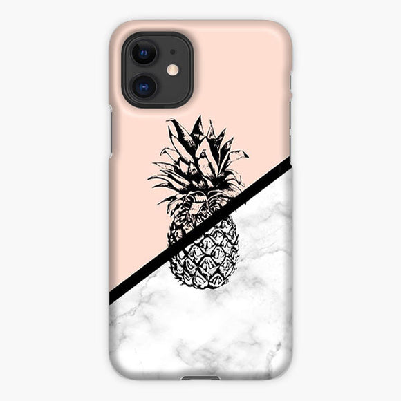 Pineapple Marble Pink Silhouette iPhone 11 Case, Plastic Case, Snap Case & Rubber Case