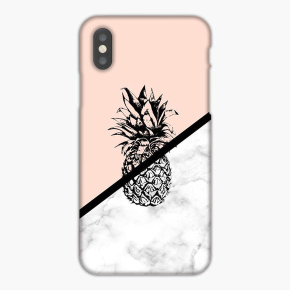 Pineapple Marble Pink Silhouette iPhone XR Case, Plastic Case, Snap Case & Rubber Case
