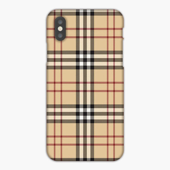 Plaid Brown Red Black Pattren iPhone XS Case, Plastic Case, Snap Case & Rubber Case