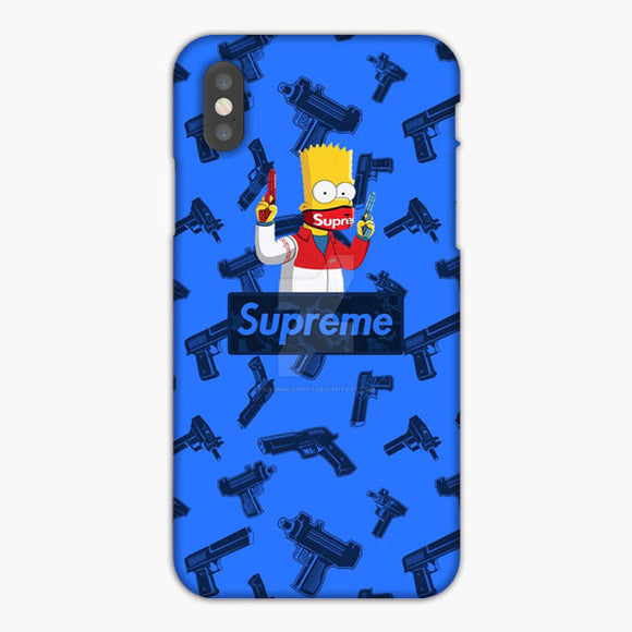 Supreme X Simpsons Handgun Blue iPhone XR Case, Plastic Case, Snap Case & Rubber Case