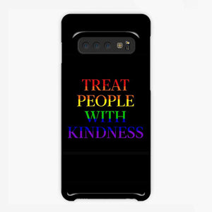 Treat People With Kindness Rainbow Black Samsung Galaxy S10 Case, Plastic Case, Snap Case & Rubber Case