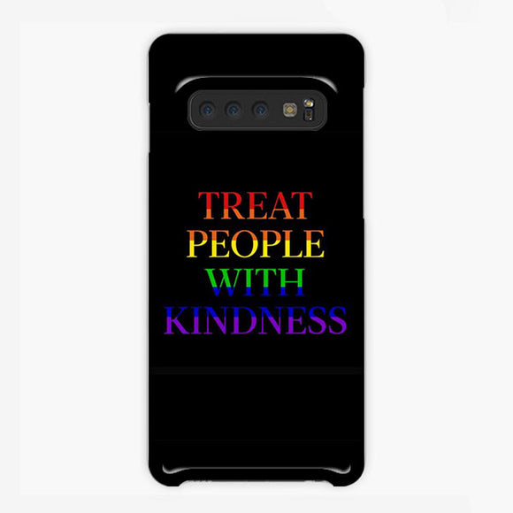Treat People With Kindness Rainbow Black Samsung Galaxy S10 Plus Case, Plastic Case, Snap Case & Rubber Case