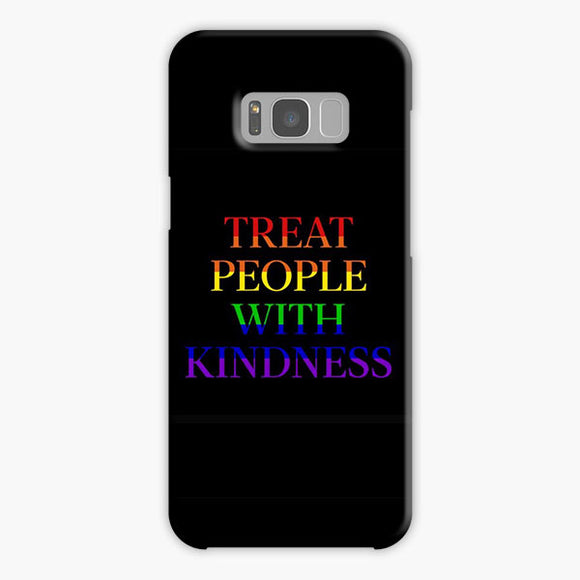 Treat People With Kindness Rainbow Black Samsung Galaxy S8 Plus Case, Plastic Case, Snap Case & Rubber Case