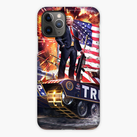 Trump 2020 Battle Tank Car American Flag iPhone 11 Pro Max Case, Plastic Case, Snap Case & Rubber Case