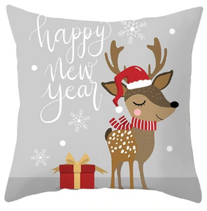 Happy New Year Reindeer Pillow- Gray