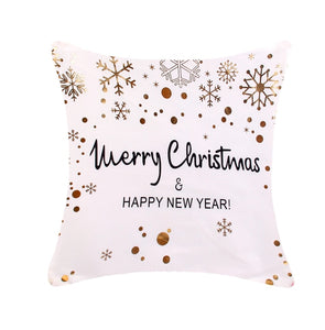 Merry Christmas & Happy New Year Snowflake Pillow