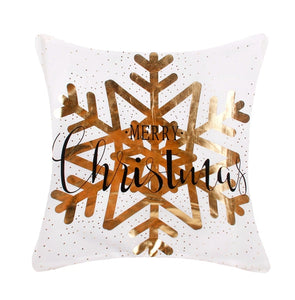Merry Christmas Large Gold Snowflake Pillow