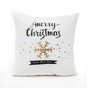 Merry Christmas Happy New Year Gold Snowflake Pillow
