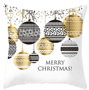 Merry Christmas Black & Gold Ornaments Pillow