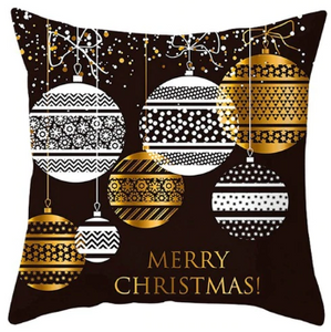 Merry Christmas Ornaments Pillow- Black