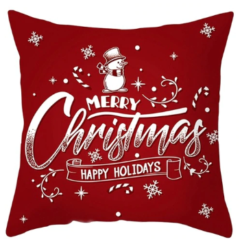 Merry Christmas & Happy Holidays Pillow- Red