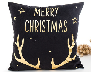 Merry Christmas Rudolph Black & Gold Pillow