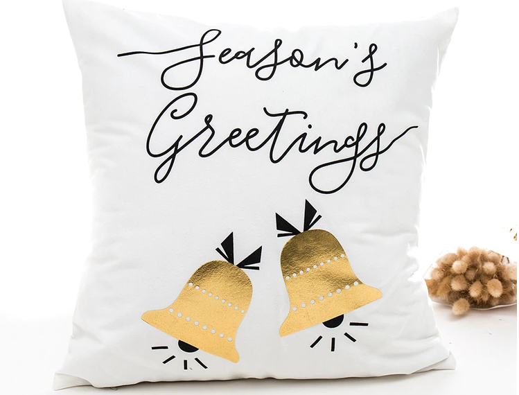 Seasons Greetings Christmas Bells Pillow