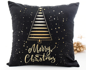 Merry Christmas Tree Holiday Gifts Pillow Black
