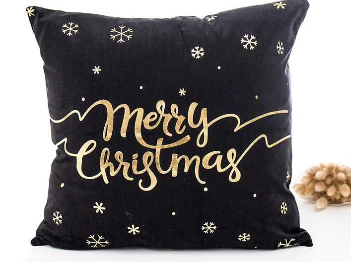Merry Christmas Snowflake Black & Gold Pillow Christmas Gifts