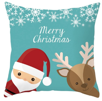 Merry Christmas Santa & Reindeer Pillow