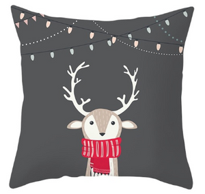 Cute Reindeer W/ Antlers Pillow- Gray