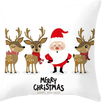 Merry Christmas Santa & Reindeer Pillow- White