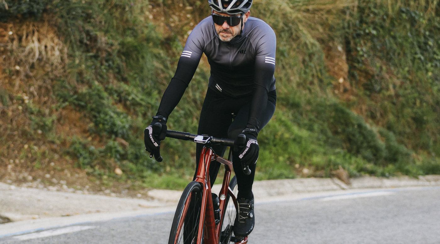 Men Riding Cycling with FDX Grey & Black Cycling Jersey & Bib Tights