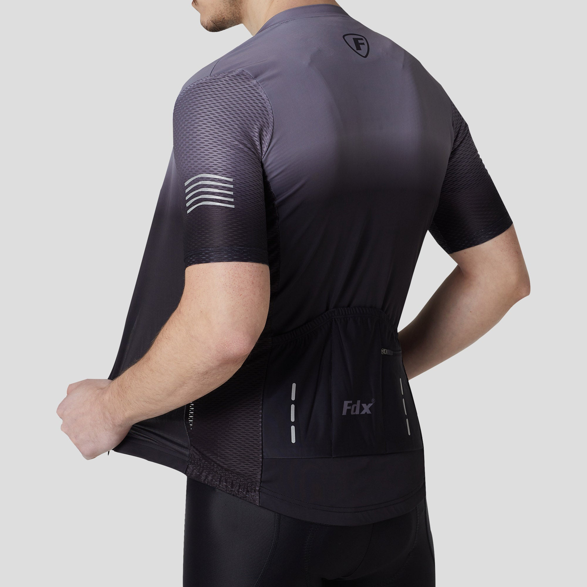 Fdx Duo Men's Grey & Black Short Sleeves Summer Cycling Jersey
